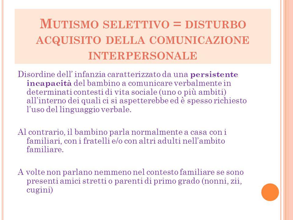 Mutismo selettivo = disturbo acquisito della comunicazione interpersonale