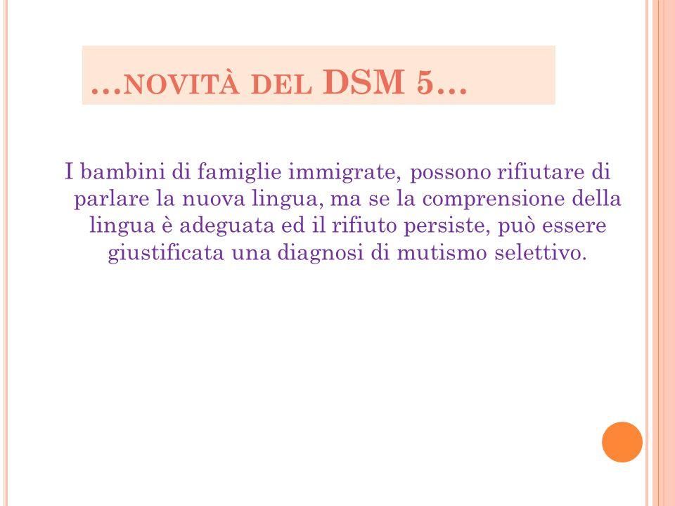 …novità del DSM 5…