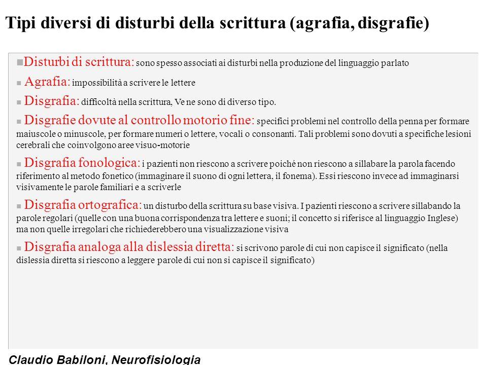 Tipi diversi di disturbi della scrittura (agrafia, disgrafie)
