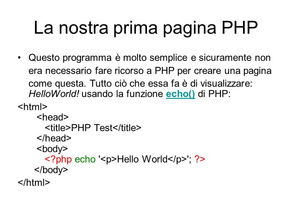 La nostra prima pagina PHP