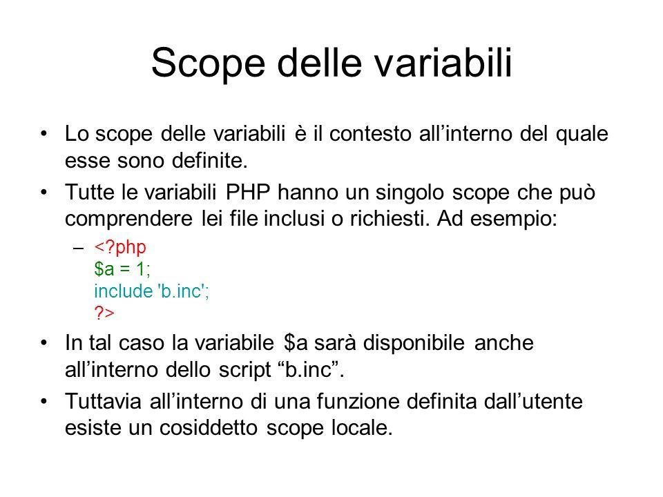 Scope delle variabili Lo scope delle variabili è il contesto all'interno del quale esse sono definite.
