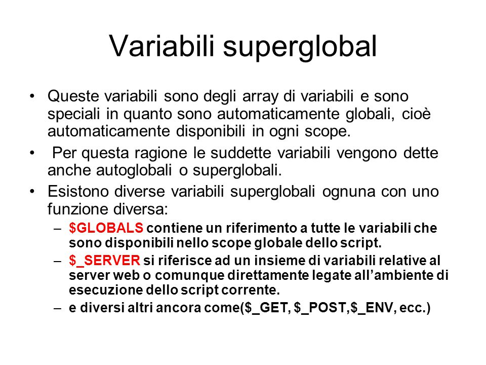 Variabili superglobal