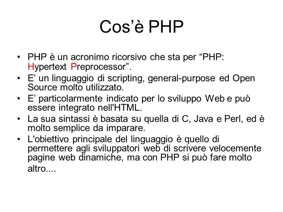 Cos'è PHP PHP è un acronimo ricorsivo che sta per PHP: Hypertext Preprocessor .