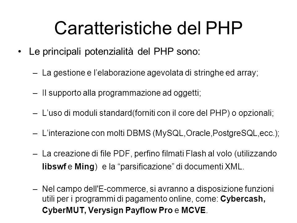 Caratteristiche del PHP