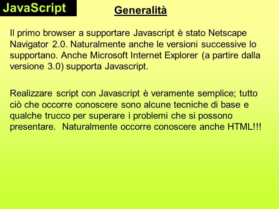 JavaScript Generalità