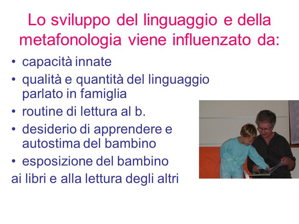 Lo sviluppo del linguaggio e della metafonologia viene influenzato da: