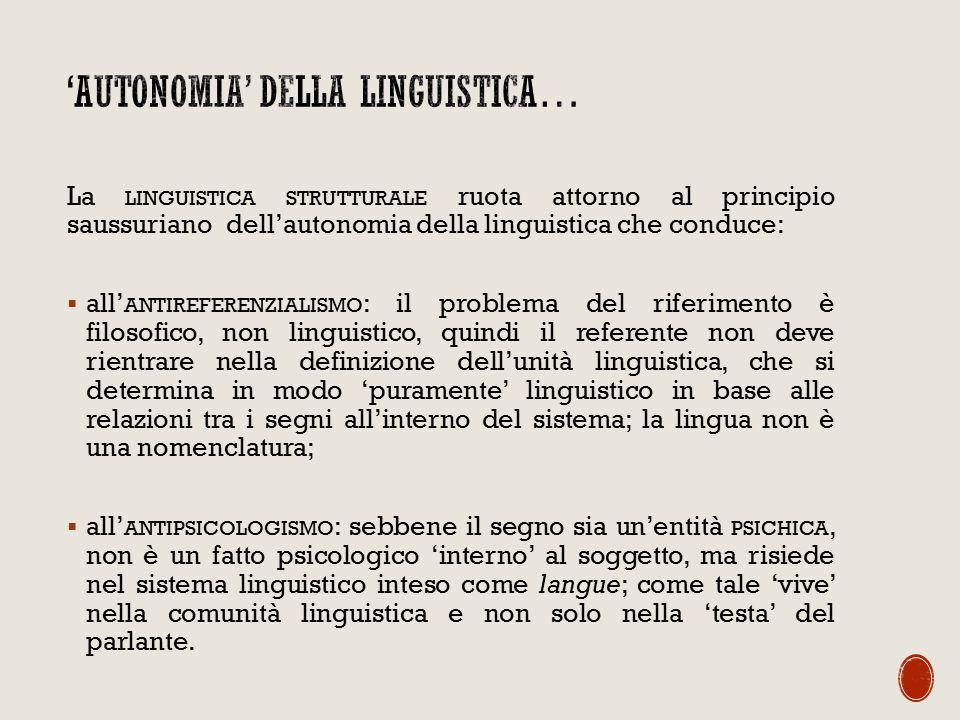 'Autonomia' della linguistica…