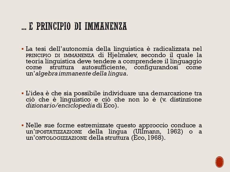 ... e principio di immanenza