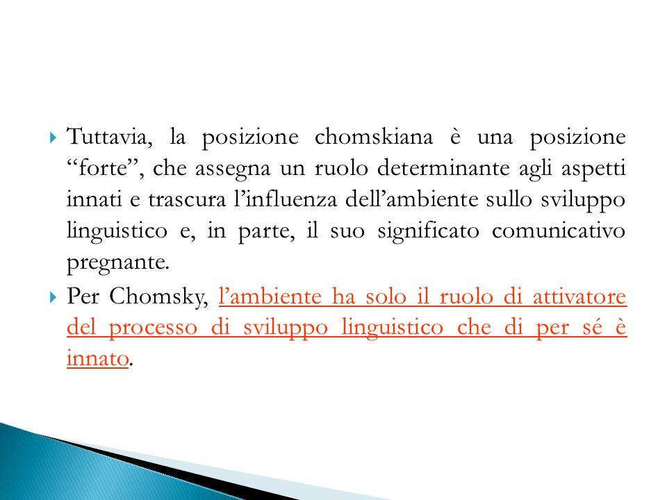 Tuttavia, la posizione chomskiana è una posizione forte , che assegna un ruolo determinante agli aspetti innati e trascura l'influenza dell'ambiente sullo sviluppo linguistico e, in parte, il suo significato comunicativo pregnante.