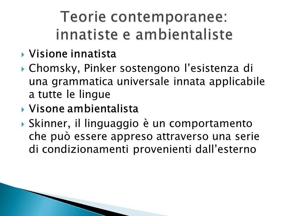 Teorie contemporanee: innatiste e ambientaliste
