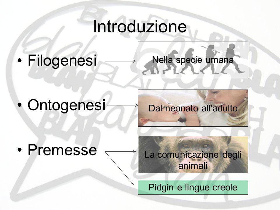 Introduzione Filogenesi Ontogenesi Premesse Nella specie umana