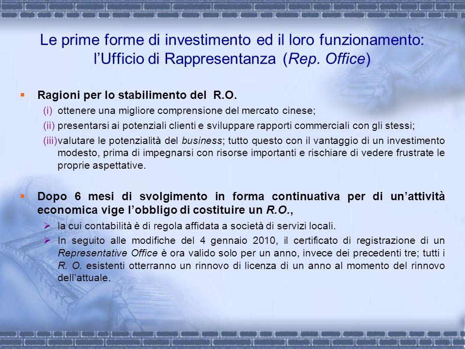 Le prime forme di investimento ed il loro funzionamento: l'Ufficio di Rappresentanza (Rep. Office)