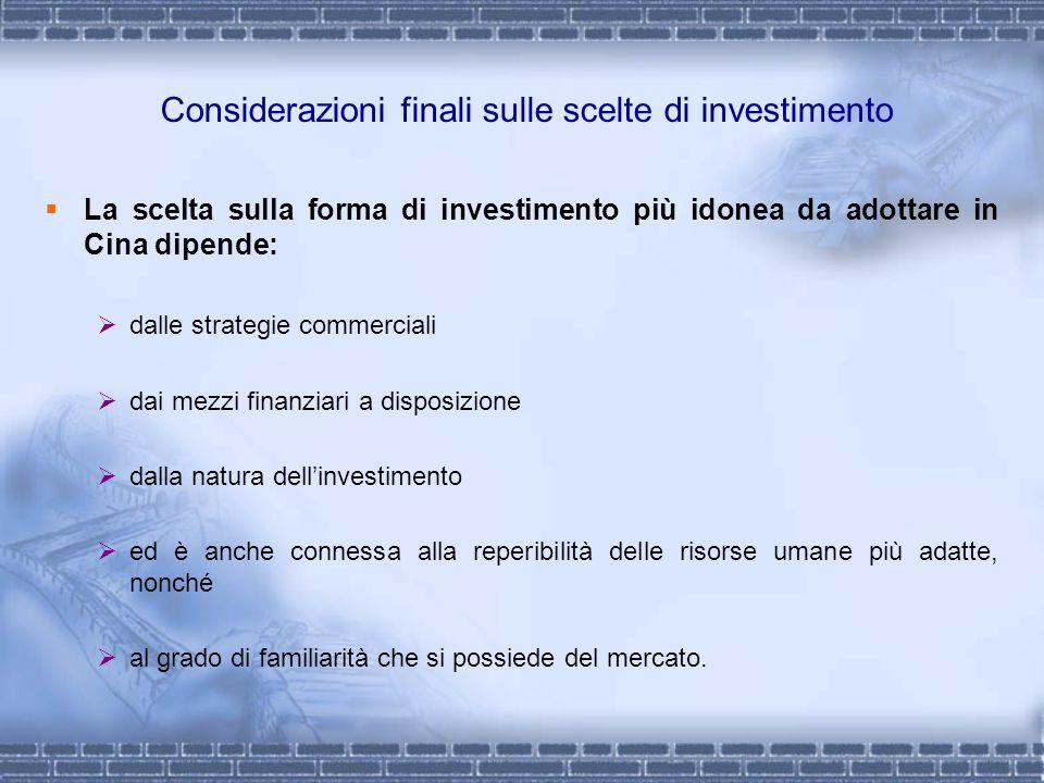 Considerazioni finali sulle scelte di investimento