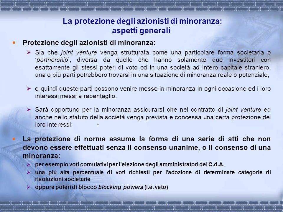 La protezione degli azionisti di minoranza: aspetti generali