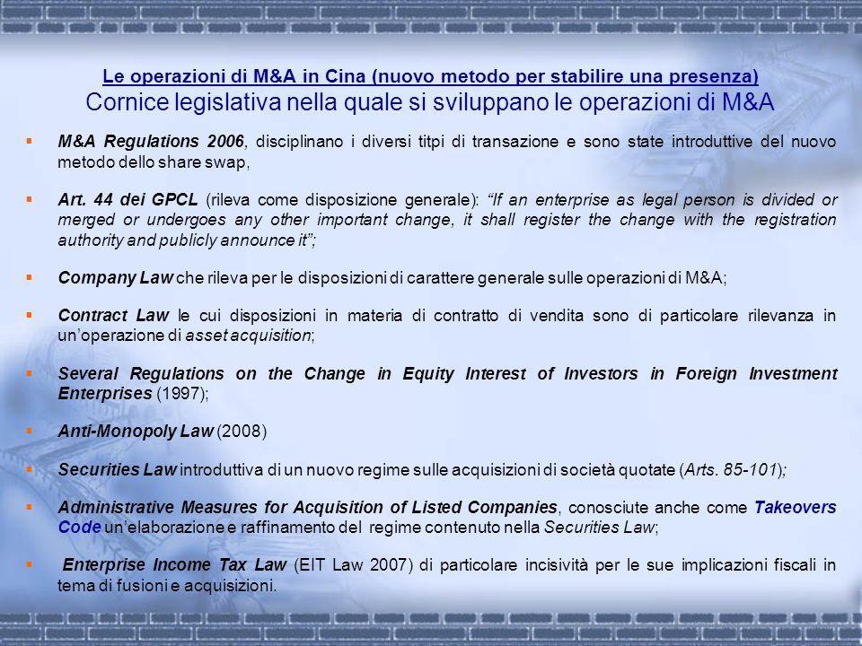 Le operazioni di M&A in Cina (nuovo metodo per stabilire una presenza) Cornice legislativa nella quale si sviluppano le operazioni di M&A