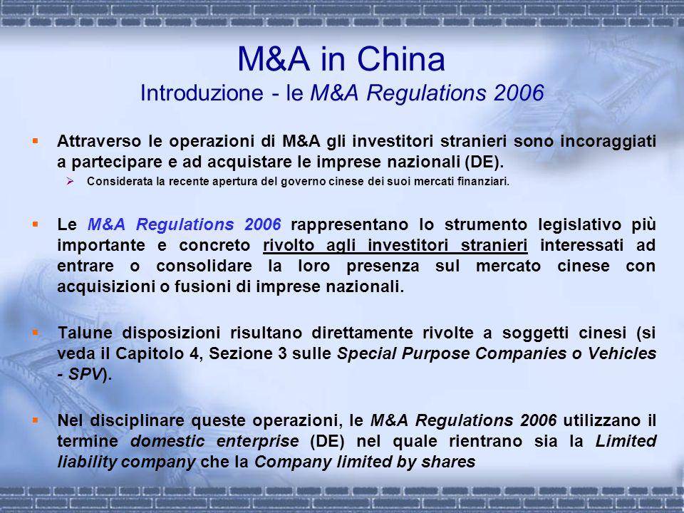 M&A in China Introduzione - le M&A Regulations 2006