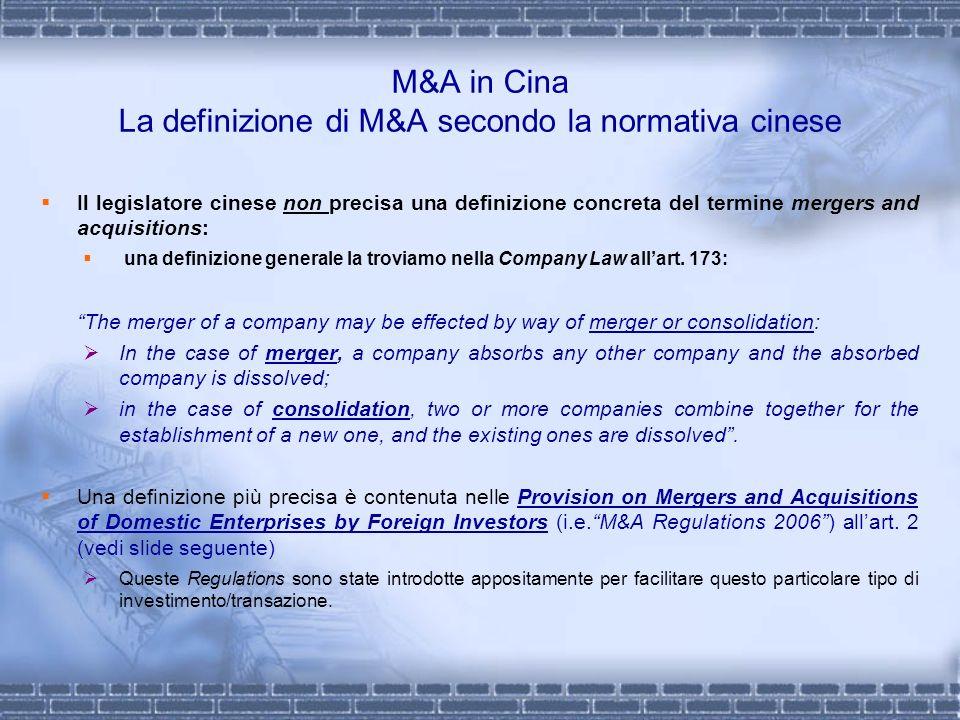 M&A in Cina La definizione di M&A secondo la normativa cinese