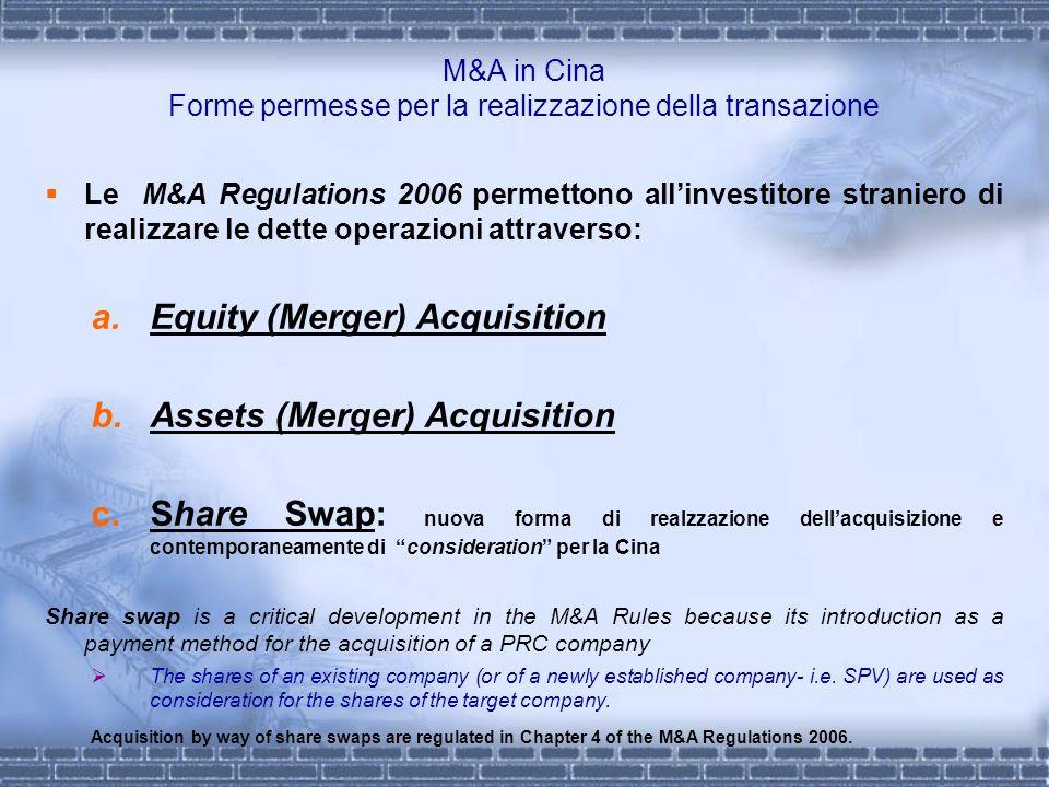 M&A in Cina Forme permesse per la realizzazione della transazione