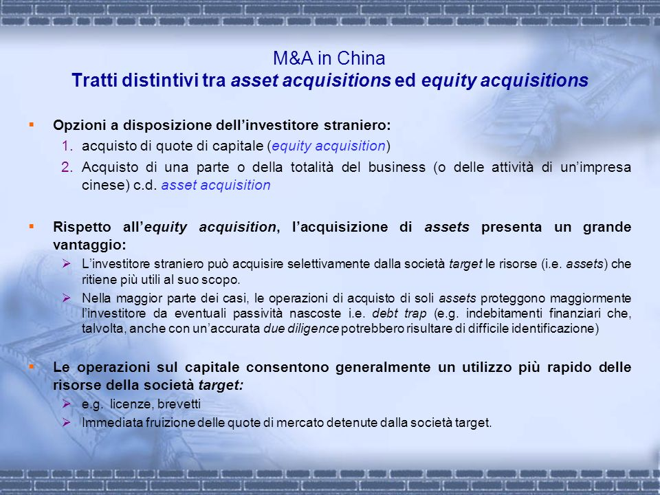 M&A in China Tratti distintivi tra asset acquisitions ed equity acquisitions
