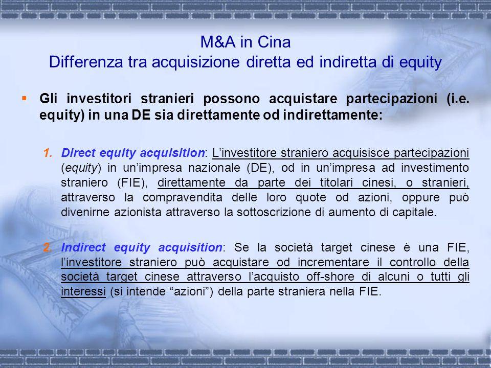 M&A in Cina Differenza tra acquisizione diretta ed indiretta di equity