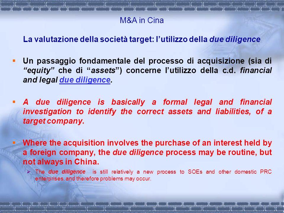 M&A in Cina La valutazione della società target: l'utilizzo della due diligence