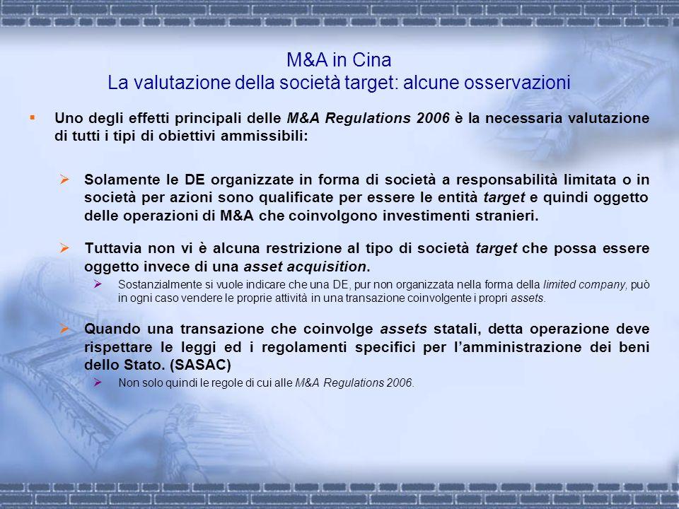 M&A in Cina La valutazione della società target: alcune osservazioni