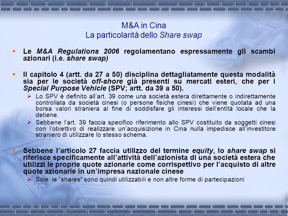 M&A in Cina La particolarità dello Share swap