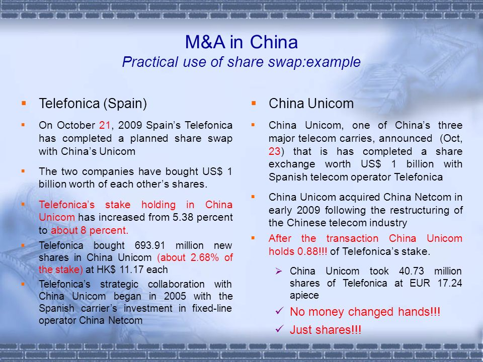 M&A in China Practical use of share swap:example