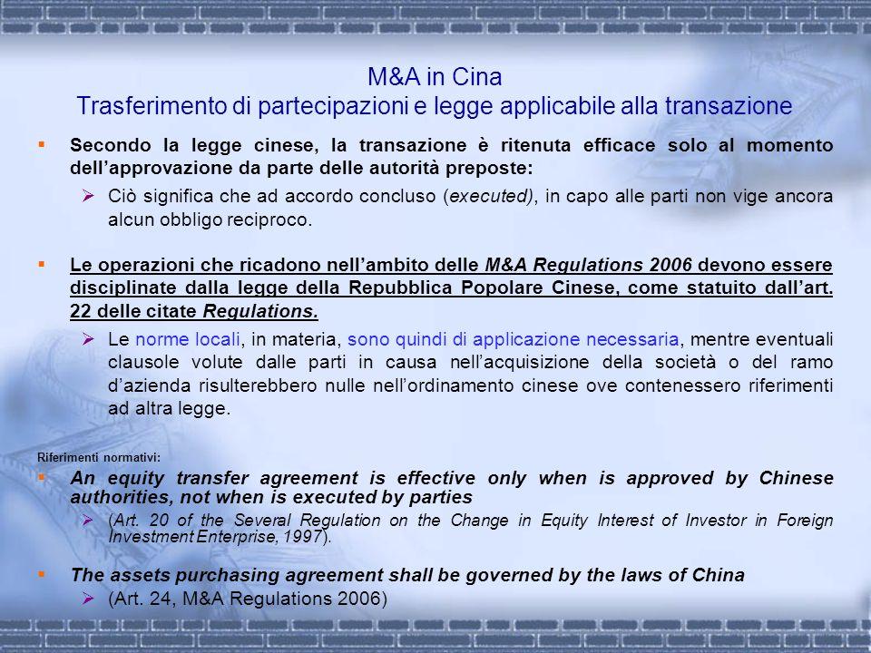 M&A in Cina Trasferimento di partecipazioni e legge applicabile alla transazione