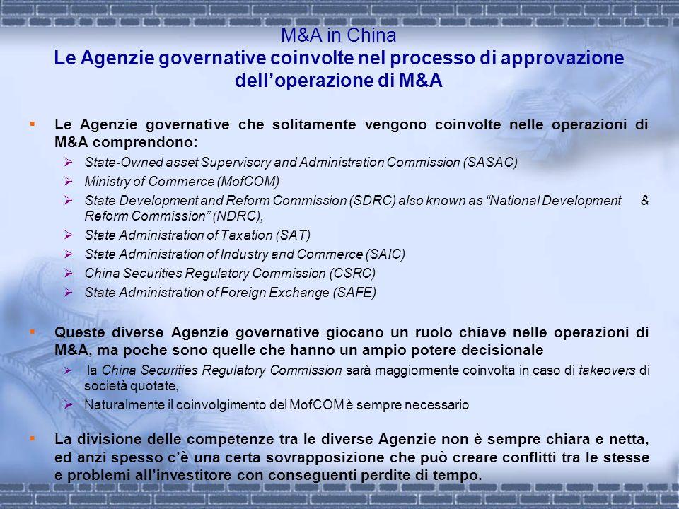 M&A in China Le Agenzie governative coinvolte nel processo di approvazione dell'operazione di M&A