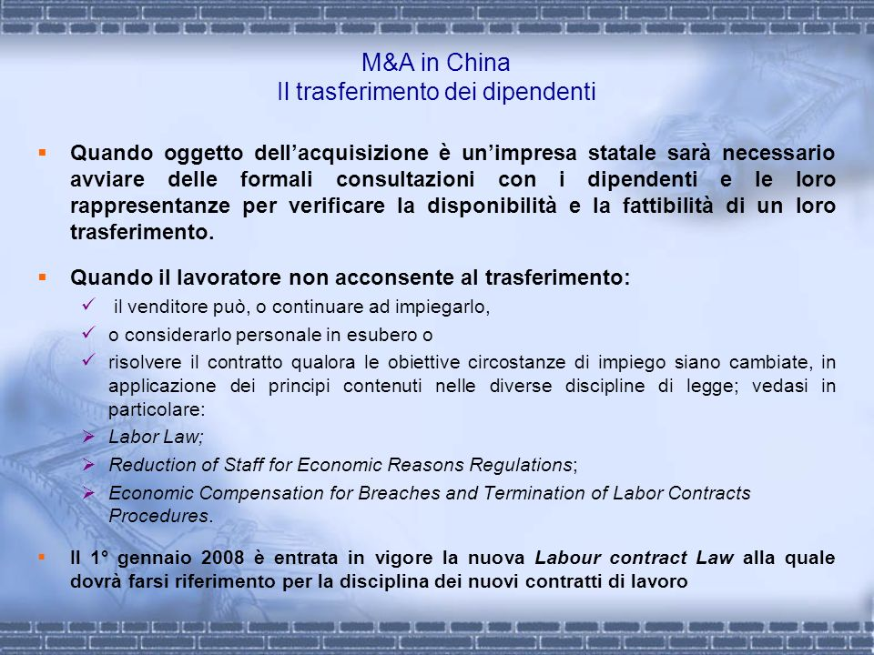 M&A in China Il trasferimento dei dipendenti