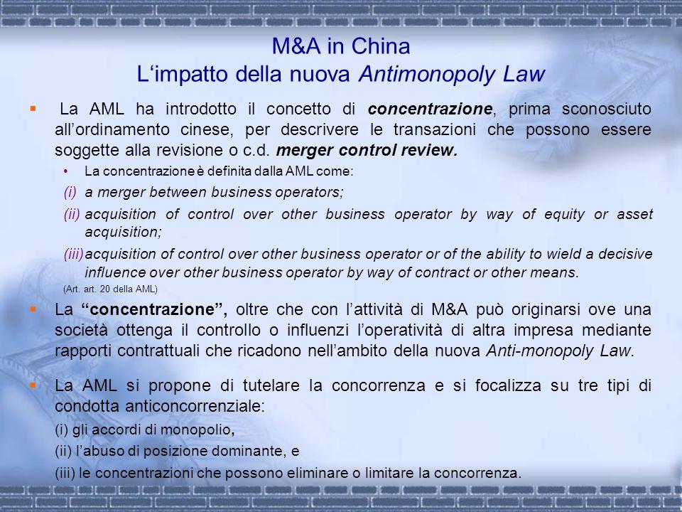 M&A in China L'impatto della nuova Antimonopoly Law
