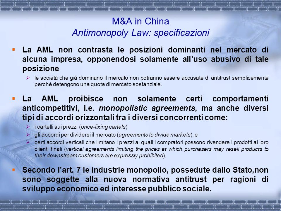 M&A in China Antimonopoly Law: specificazioni