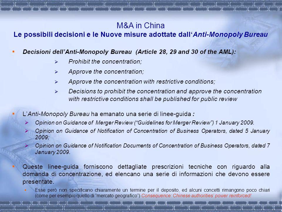 M&A in China Le possibili decisioni e le Nuove misure adottate dall'Anti-Monopoly Bureau