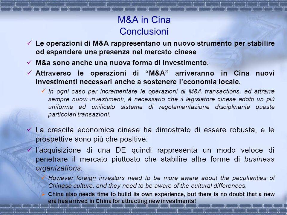 M&A in Cina Conclusioni