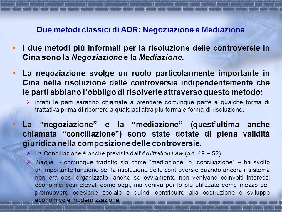 Due metodi classici di ADR: Negoziazione e Mediazione