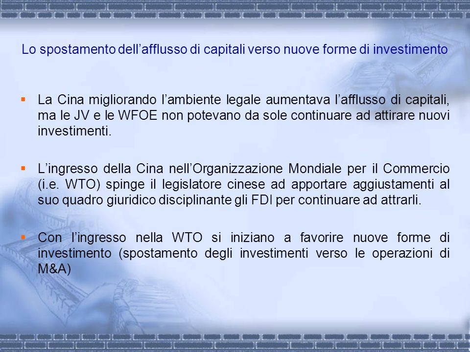 Lo spostamento dell'afflusso di capitali verso nuove forme di investimento