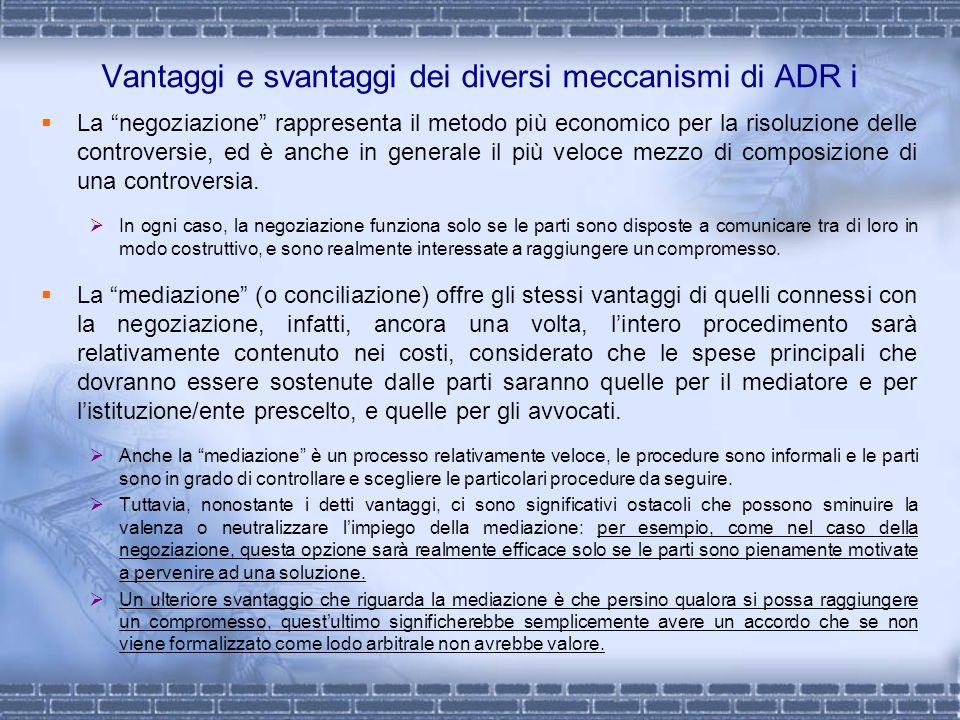 Vantaggi e svantaggi dei diversi meccanismi di ADR i