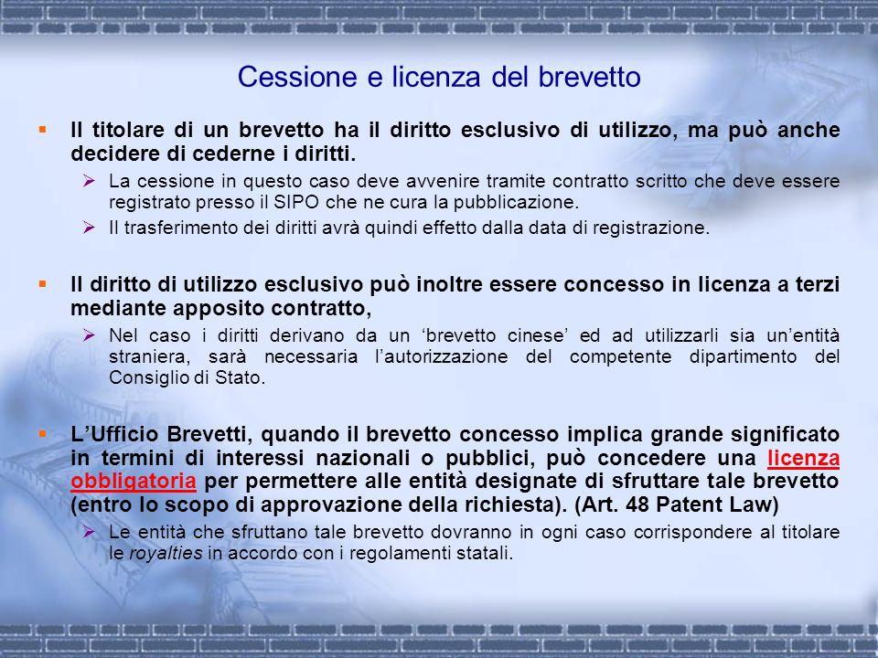 Cessione e licenza del brevetto