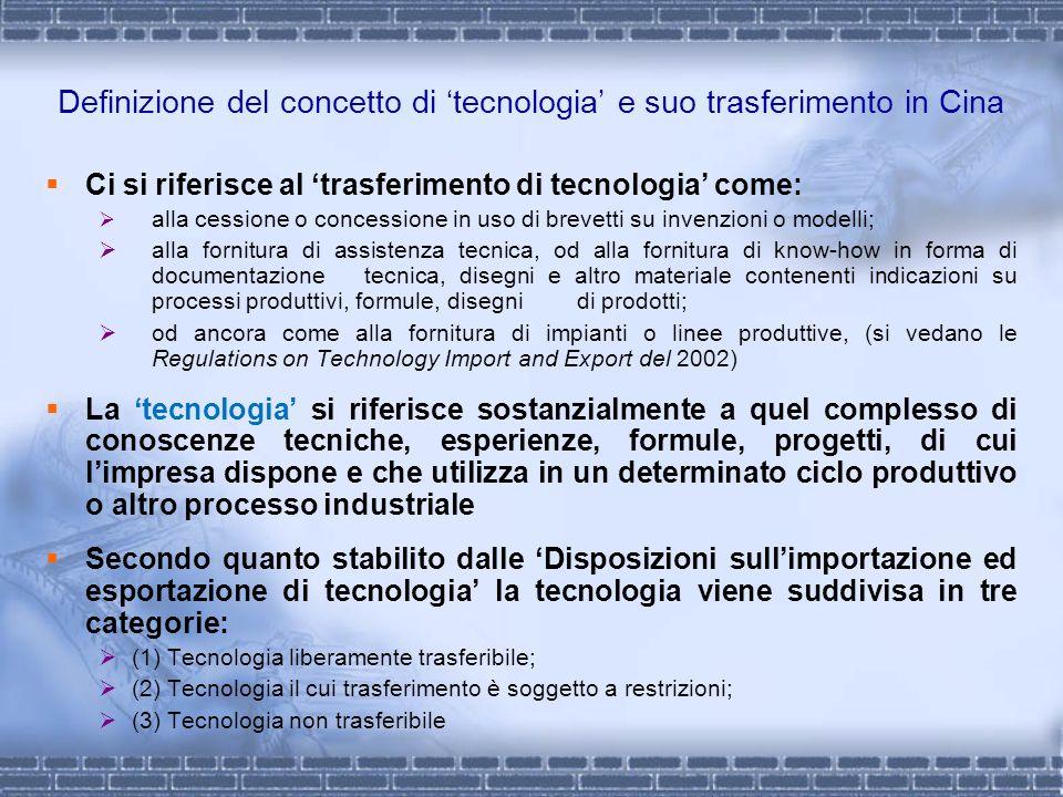 Definizione del concetto di 'tecnologia' e suo trasferimento in Cina