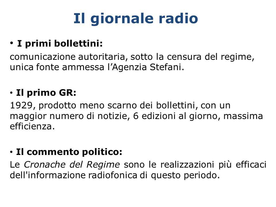 Il giornale radio I primi bollettini: