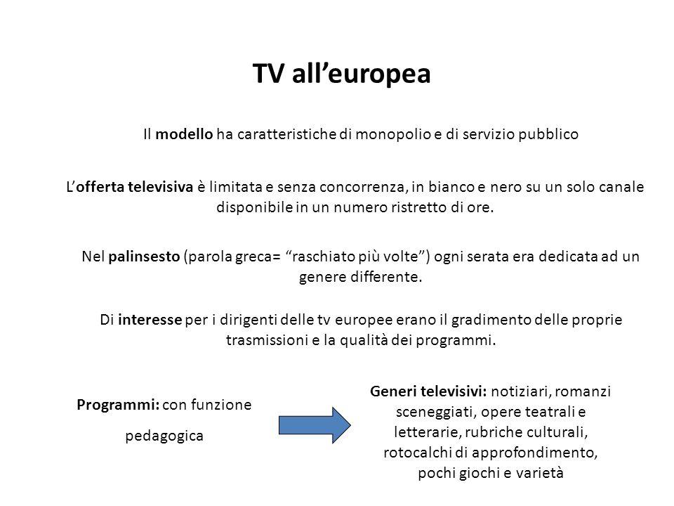 TV all'europea Il modello ha caratteristiche di monopolio e di servizio pubblico.