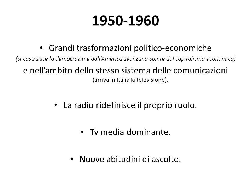 1950-1960 Grandi trasformazioni politico-economiche