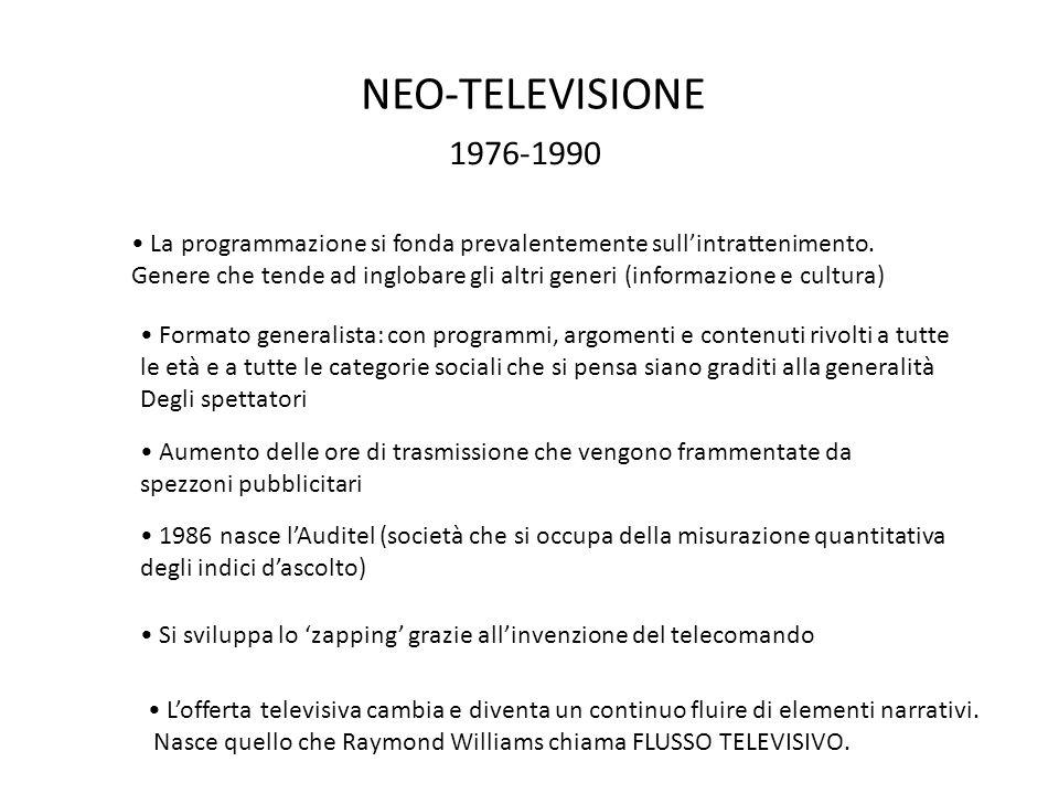 NEO-TELEVISIONE 1976-1990. La programmazione si fonda prevalentemente sull'intrattenimento.