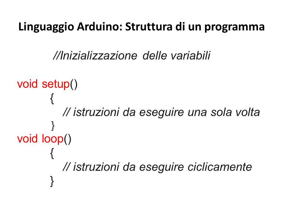 Linguaggio Arduino: Struttura di un programma