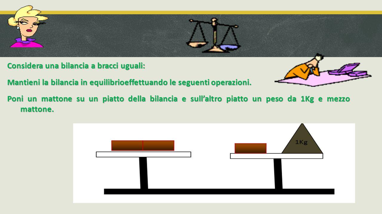 Considera una bilancia a bracci uguali: Mantieni la bilancia in equilibrioeffettuando le seguenti operazioni.