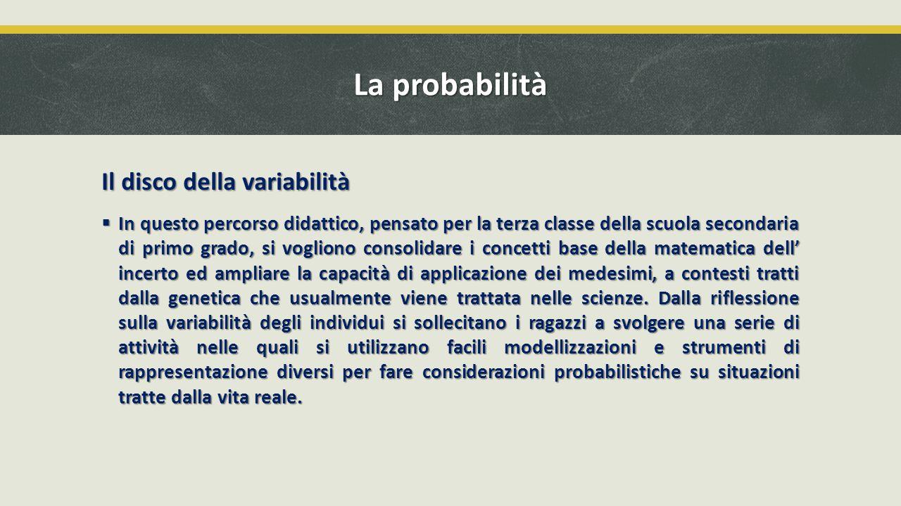 La probabilità Il disco della variabilità