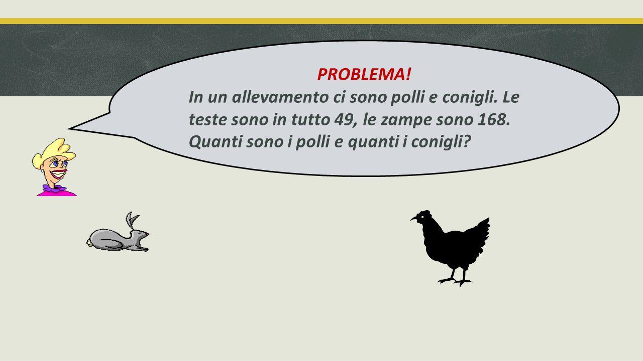 PROBLEMA. In un allevamento ci sono polli e conigli.