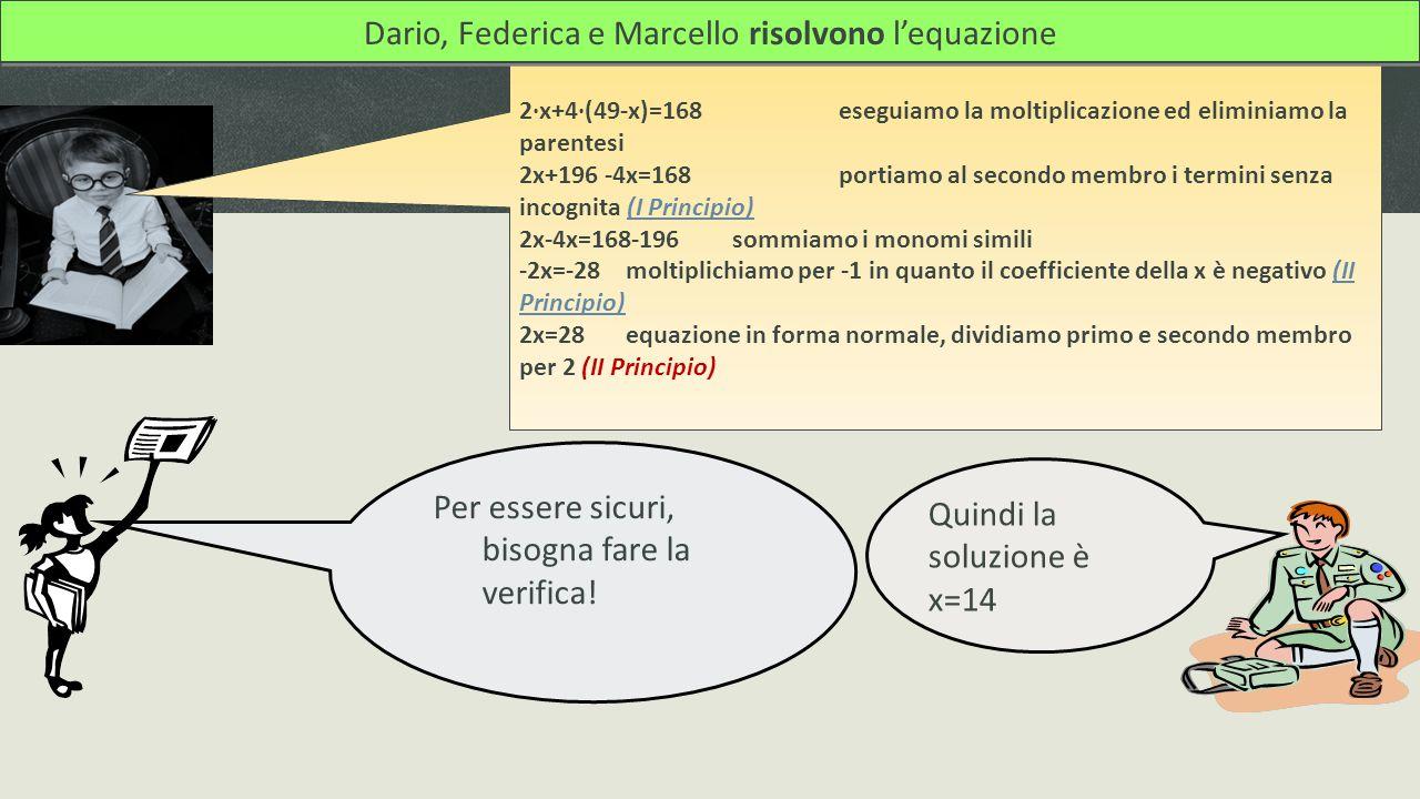 Dario, Federica e Marcello risolvono l'equazione
