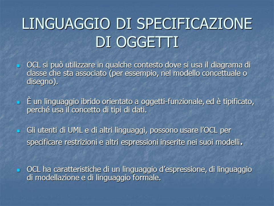 LINGUAGGIO DI SPECIFICAZIONE DI OGGETTI